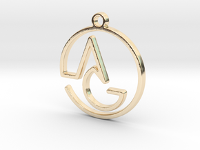 A & G Monogram Pendant in 14k Gold Plated