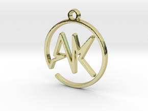 A & K Monogram Pendant in 18k Gold Plated