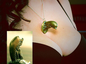 Snalien Bursts out of your Chest Pendant in Polished Bronze Steel