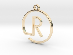 R Monogram Pendant in 14k Gold Plated
