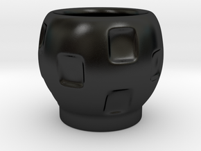 Stackable Round Espresso Cup (squares) in Matte Black Porcelain