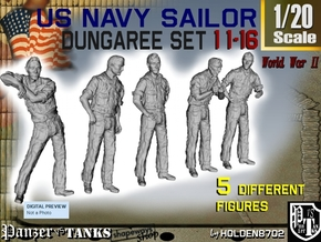 1-20 US Navy Dungaree Set 11-16 in White Strong & Flexible