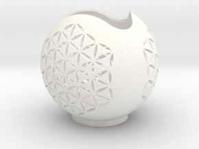 Flower Of Life Candle Holder in White Strong & Flexible Polished