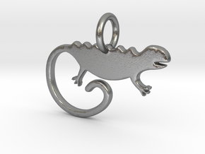 Chameleon Pendant and Keychain in Raw Silver