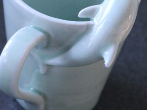 Dolphin Mug in Gloss Celadon Green Porcelain
