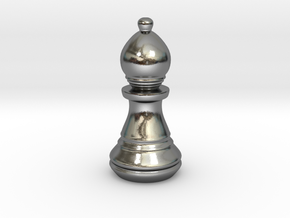 Chess Set Bishop in Polished Silver