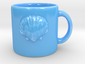 Scallop Shell Coffee Mug in Gloss Blue Porcelain