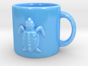 Kemps Ridley Baby Sea Turtle Coffee Mug  in Gloss Blue Porcelain