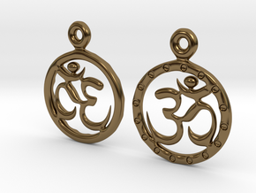 Om EarRings - Pair - Metal in Polished Bronze