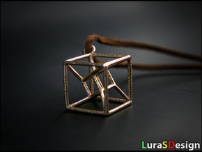 twisted Hypercube Pendant in Stainless Steel