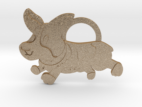 Corgi Keychain  in Matte Gold Steel
