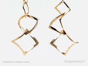 Twisted squares earrings in Interlocking Polished Brass