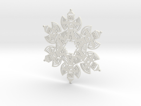 Snow Angel Snowflake Ornament in White Strong & Flexible