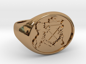 Crest Signet Ring in Polished Brass