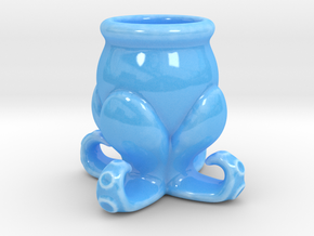 Small Octopus Cup in Gloss Blue Porcelain