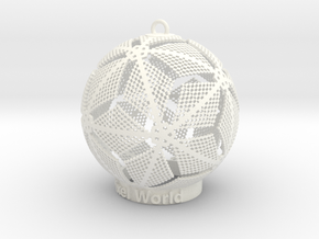 Pixel World Ornament in White Strong & Flexible Polished