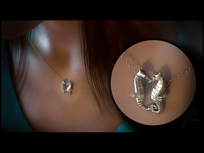 'Hippocampus Love' (Seahorse) LOVE Pendant, Charm in Polished Silver