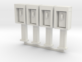 Phone Booth in O Scale, 4 pack in White Strong & Flexible: 1:48