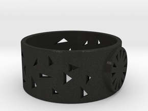 Signet ring with triangles in Black Acrylic