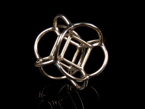 Soap Bubble Hyper Cube (S) in Polished Silver