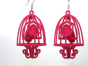 Bird in a Cage Earrings 03 in White Strong & Flexible