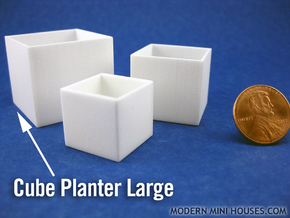 Cube Planter Large 1:12 scale in White Strong & Flexible Polished