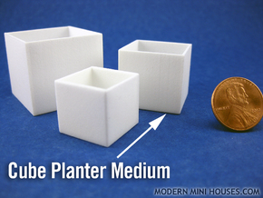 Cube Planter Medium 1:12 scale in White Strong & Flexible Polished