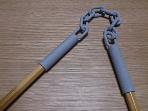 Nunchaku Pen Cap(two linked fighting sticks) in Polished Metallic Plastic