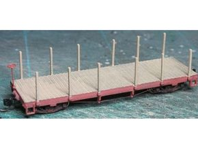 HOn30 25 foot Flatcar with stakes (plus) in White Strong & Flexible