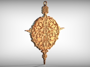 Baroque Ornament Amulet in Polished Gold Steel