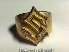 Sabaton Ring (male) in Polished Gold Steel