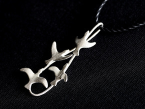 Flying Birds Pendant in Raw Silver