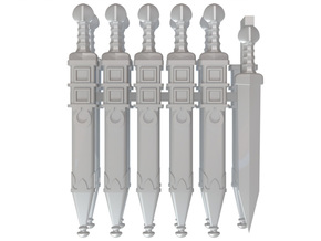 10 Sheathed Omega Gladius for 28mm miniatures in Frosted Ultra Detail