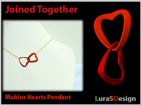 Joined Together - Interlocking Hearts Pendant in Red Strong & Flexible Polished