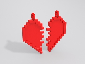 Pixel Heart Friendship Pendant in Red Strong & Flexible Polished