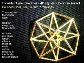 Toroidal Hypercube 35mm 1mm Time Traveller in Polished Gold Steel