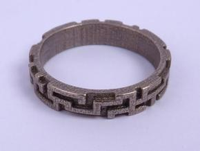 A maze ring in Stainless Steel