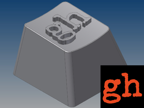 """GeekHack """"gh"""" Keycap (R4, 1x1) in White Strong & Flexible"""