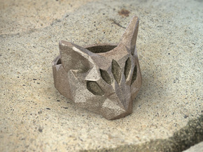Polygonal cat ring (various sizes) in Polished Bronze Steel