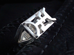 Cattle Brand Ring 1- Size 9 1/2 (19.35 mm) in Polished Silver