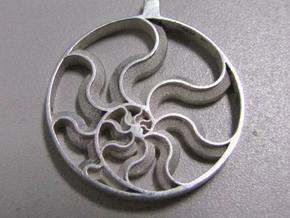 Fibonacci Sun in Polished Silver