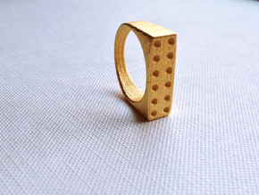 Domino Ring in Polished Gold Steel