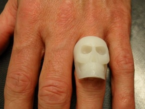 High Detail Skull Ring with Attitude (Men's or Wom in White Strong & Flexible