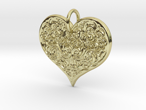 Filigree Engraved Heart pendant in 18k Gold Plated
