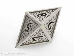 Hedron D8 Closed (Hollow), balanced gaming die in Stainless Steel