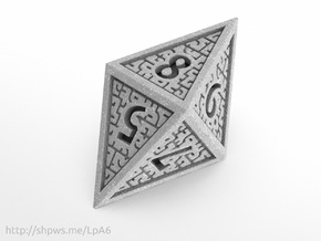 Hedron D8 Closed (Solid), balanced gaming die in Polished Metallic Plastic