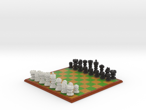 3D Pixel Chess Set - PC Game in Full Color Sandstone