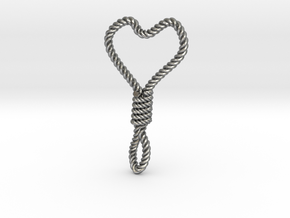Hung Up Heart in Raw Silver