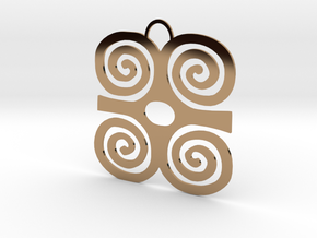 Adinkra Symbol of Strength Pendant in Polished Brass