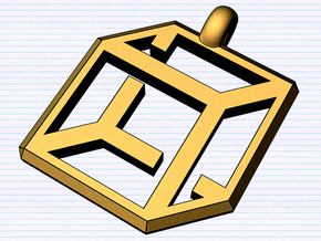 cube pendant possible edition in Polished Gold Steel